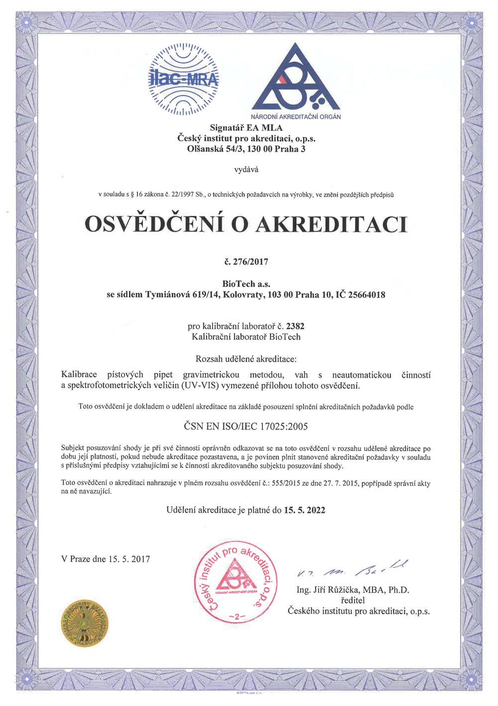 Osvědčení o akreditaci – Zkušební laboratoř BioTech