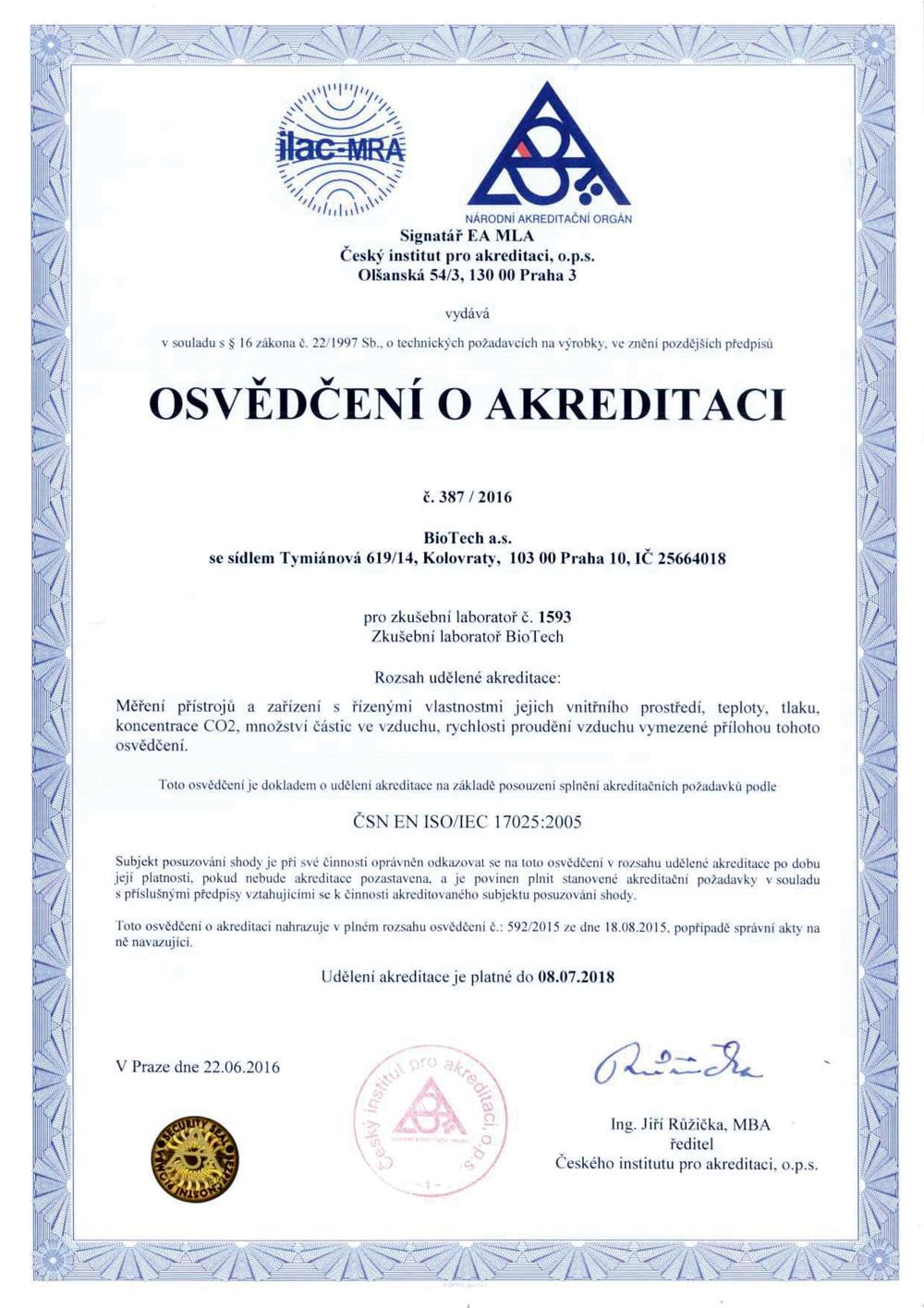 Osvědčení o akreditaci – Kalibrační laboratoř BioTech