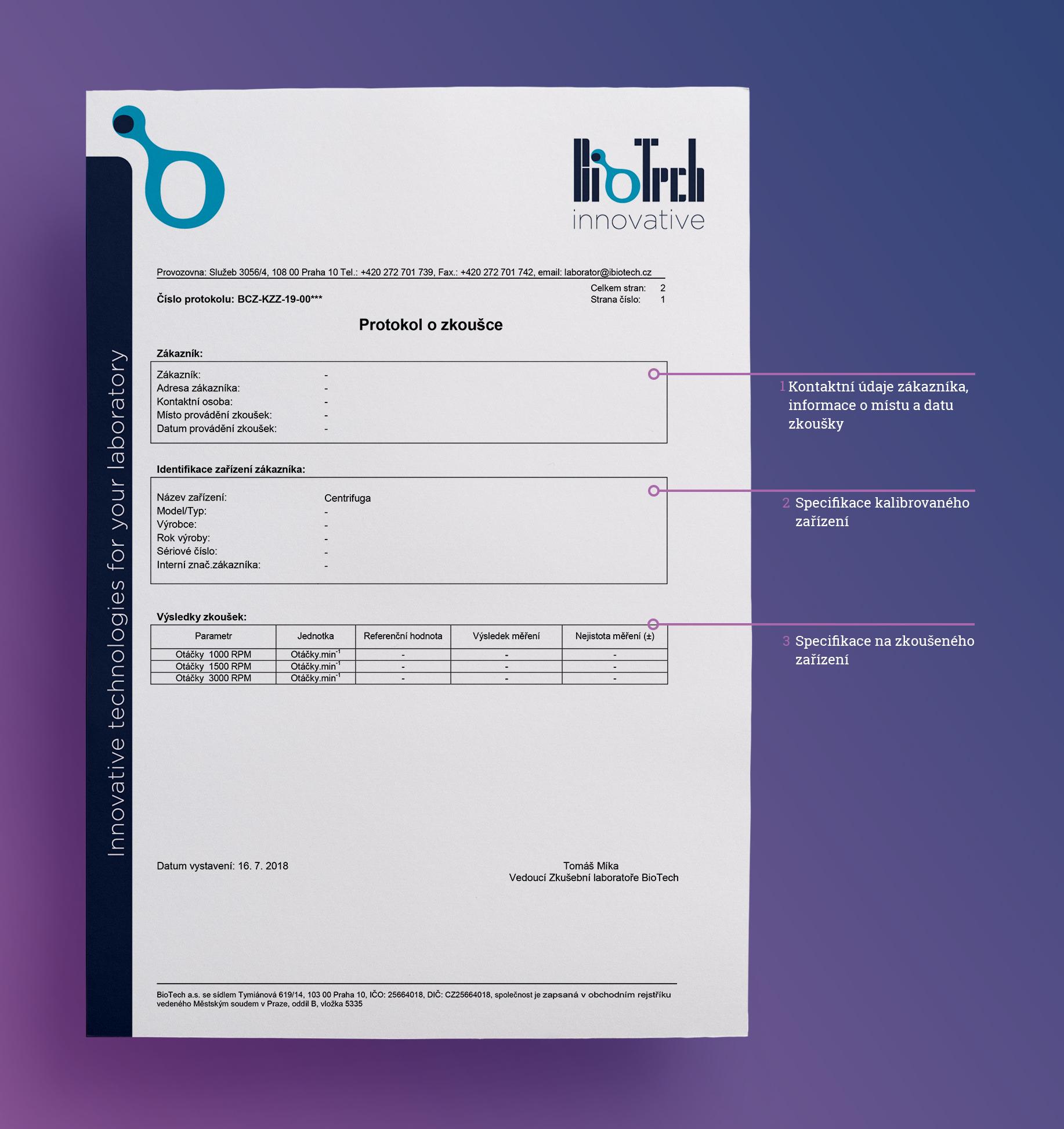 Osvědčení o akreditaci Kalibrační laboratoři